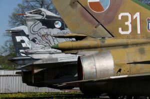 Venkovní expozice bojových letounů (sovětská výroba)