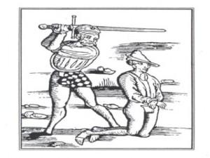 Držení meče při popravě. Výřez z formy hrdelních trestů. Dřevořez. Teugler, Laienspiegel, Mainz 1508.