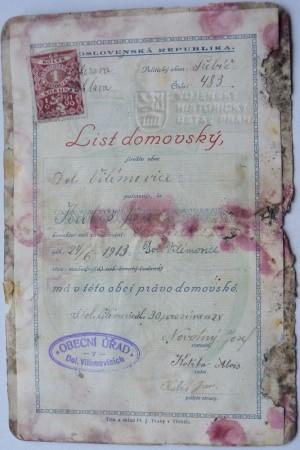 Domovský list Jana Kubiše (foto Dolní Vilémovice - VHU)