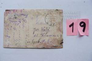Lístek adresovaný Janu Kubišovi (foto Dolní Vilémovice - VHU)