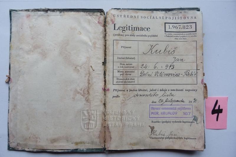 Legitimace sociálního pojištění Jan Kubiše (foto Dolní Vilémovice - VHU)
