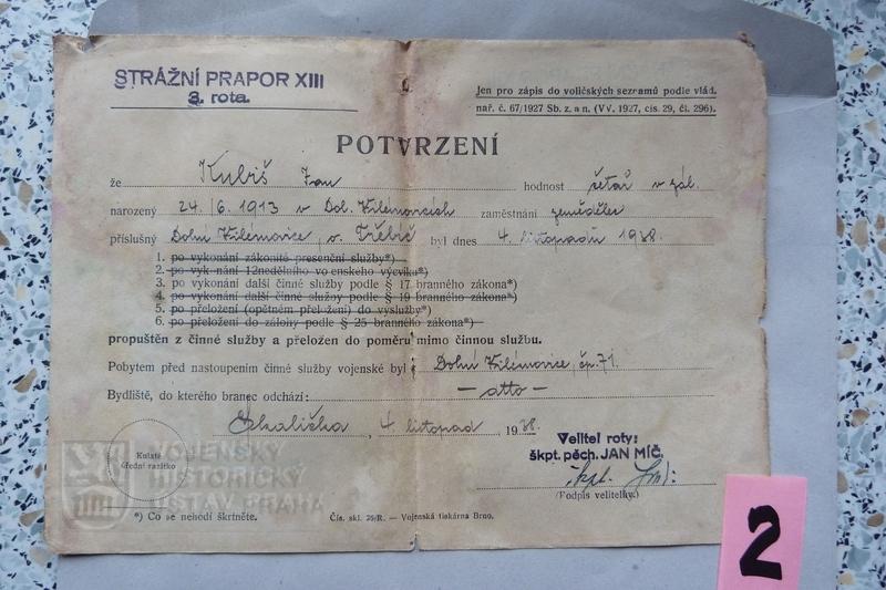 Potvrzení o propuštění z činné služby, 1938 (foto Dolní Vilémovice - VHU)