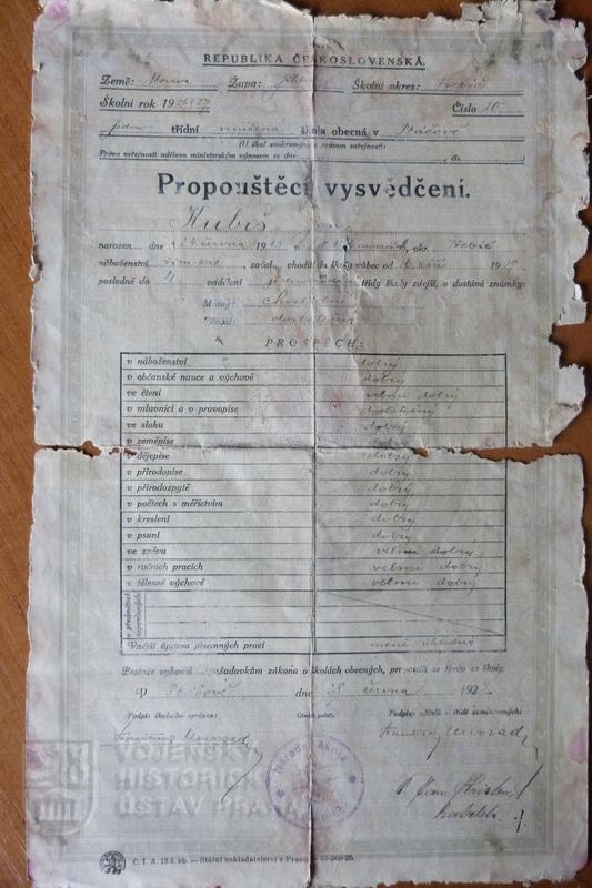 Propouštěcí vysvědčení Jana Kubiše (foto Dolní Vilémovice - VHU)