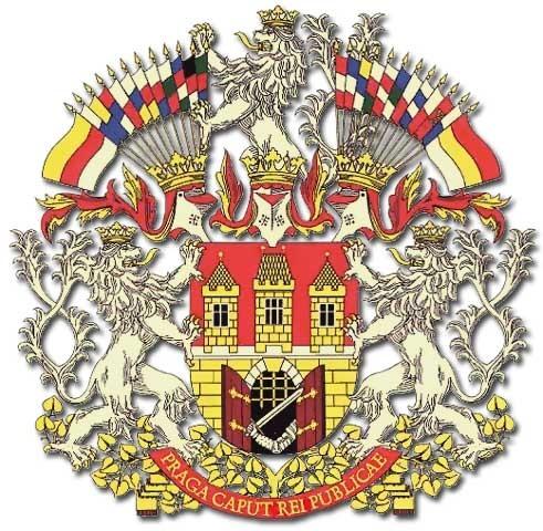 Erb sjednocené Prahy v dobách habsburské monarchie a dnes. Ruka v bráně třímající meč dodnes připomíná boj pražských měšťanů proti Švédům. Repro sbírka VHÚ.
