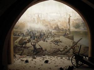 Dioráma zobrazující boje se Švédy na Karlově mostě je dodnes k vidění v zrcadlovém bludišti na Petříně. Repro sbírka VHÚ.