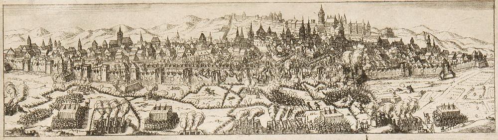 Výřez z předchozího obrazu ukazuje detail rytiny zobrazující těžké obléhací boje z října 1648. Repro sbírka VHÚ.