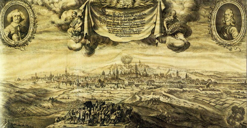 Rytina od Matthäuse Meriana staršího z cyklu Theatrum Europaeum zobrazuje obléhání Prahy Švédy. V rozích jsou vyobrazeni císařští velitelé města: vlevo maršál Rudolf Hieronymus hrabě von Colloredo-Waldsee, vpravo plukovník, od srpna 1648 generál polní strážmistr, Innocenzo hrabě Conti. Repro sbírka VHÚ.