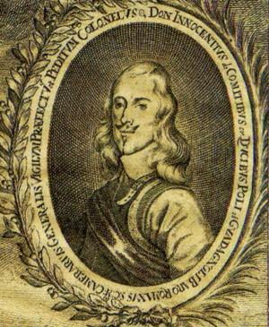 Detail portrétu císařského plukovníka Innocenza hraběte Contiho, díky jehož práci na opevnění města jakož i přímého velení na ohrožených úsecích Praha odolala. Repro sbírka VHÚ.