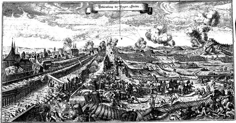 Další rytina od Matthäuse Meriana staršího z cyklu Theatrum Europaeum zobrazující boje o Prahu. Repro sbírka VHÚ.