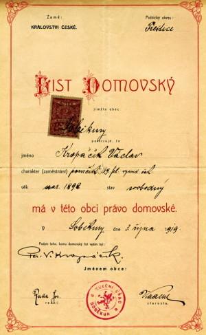 Domovský list Václava Kropáčka. Foto sbírka VHÚ.