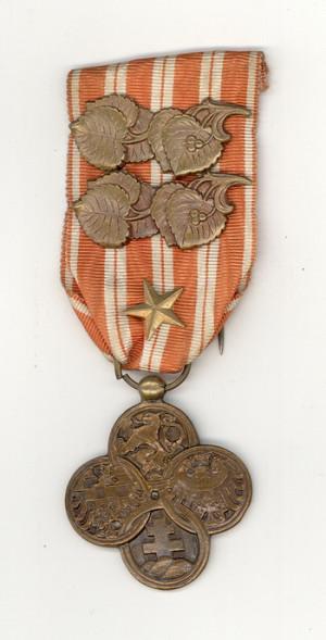 Československý válečný kříž 1918 udělený Václavu Kropáčkovi. Foto sbírka VHÚ.