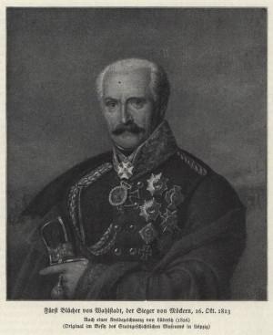 Významný podíl na vítězství u Lipska měl také pruský generál jezdectva Gebhard Leberecht hrabě von Blücher, který byl právě za svůj boj v bitvě národů povýšen na polního maršála. Foto sbírka VHÚ.