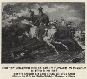 Francouzský maršál Józef kníže Poniatowski, synovec posledního polského krále, se na tomto vyobrazení vrhá do řeky Elstery, v níž nalezne 19. října 1813 smrt. Foto sbírka VHÚ.