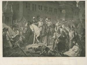 Vjezd tří panovníků 6. koalice do Lipska po vítězném boji. Zleva doprava ruský car Alexandr I., rakouský císař František I. a pruský král Friedrich Vilém III. Foto sbírka VHÚ.