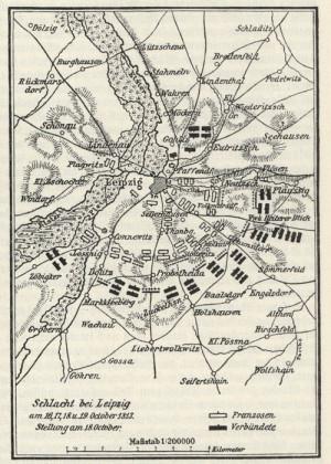 Plánek zachycující první den bitvy národů u Lipska 16. října 1813. Foto sbírka VHÚ.