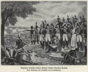 Napoleon se svým štábem u Lipska diktuje rozkazy svému náčelníkovi štábu maršálu Berthierovi. Foto sbírka VHÚ.