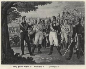 Panovníci 6. koalice u Lipska, zleva doprava pruský král Friedrich Vilém III., rakouský císař František I. a ruský car Alexandr I. Foto sbírka VHÚ.