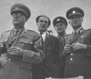 Členové Vojenského komitétu při ÚV KSČ v roce 1949 zleva Klement Gottwald, Rudolf Slánský, Bedřich Reicin, Ludvík Svoboda. Foto sbírka VHÚ.