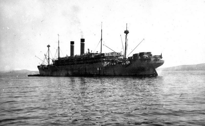 Loď USAT America, kterou z Vladivostoku odplul 22. transport čs. legií. Foto: Vojenský ústřední archiv Praha
