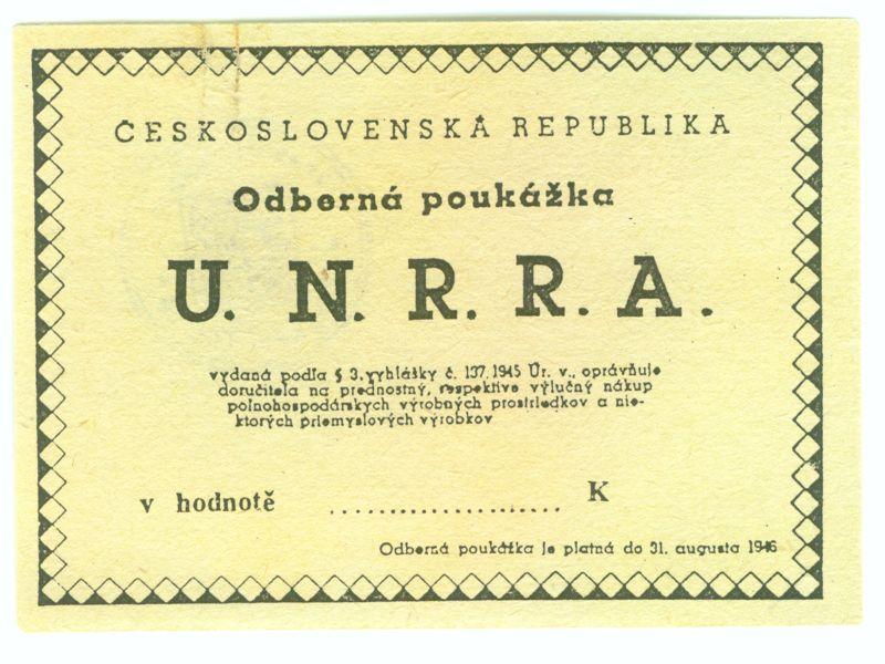 Československo a poválečná pomoc UNRRA