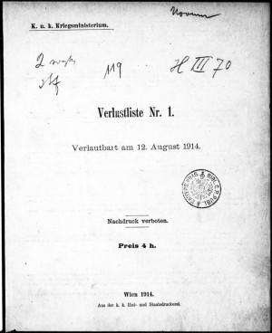 Titulní list prvního čísla Seznamů ztrát rakousko-uherské armády.  FOTO: VHÚ Praha