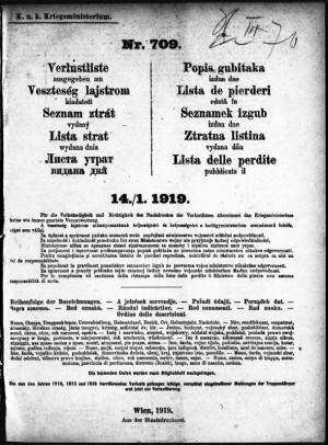 Řada se uzavře po 1647 dnech a 39144 stranách zaplněných statisíci jmen vojáků i z českých zemí. Titulní list posledního čísla (správně má být 14. 2. 1919). FOTO: VHÚ Praha