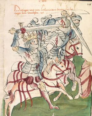 Císař Lothar III. v Bitvě u Chlumce, kresba z 15. století