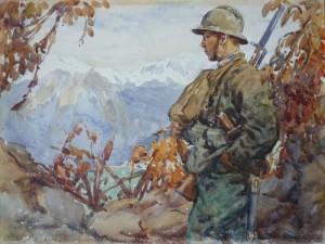 Břetislav Bartoš - italský legionář na hlídce