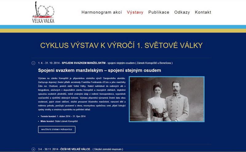 Webové stránky projektu Velká válka