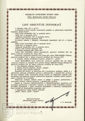 Spis o absolutních světových a světových rekordech společného letu letců-kosmonautů SSSR a kosmonauta-výzkumníka ČSSR