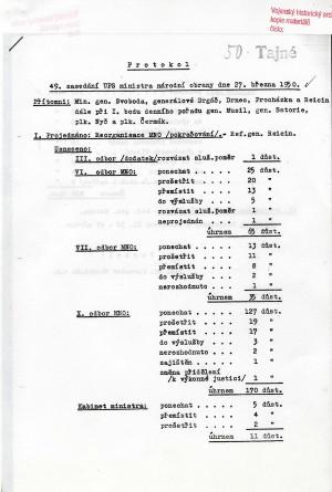 Protokol jednání Užšího poradního sboru ministra národní obrany z 27. března 1950. Za přítomnosti ministra Svobody, generálů Drgáče, Drnce, Procházky a Reicina byla projednána kádrová prověrka 826 vojáků z povolání na Ministerstvu národní obrany. Předchozí prověrka na Hlavním štábu ukázala potřebu výměny okolo 40 procent jeho důstojníků. Podobného čísla bylo dosaženo i na ministerstvu. Foto VÚA–VHA.