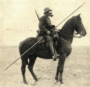 1. světová válka – spojení středověku a moderní doby, německý hulán s ochrannou masku. Foto sbírka VHÚ.