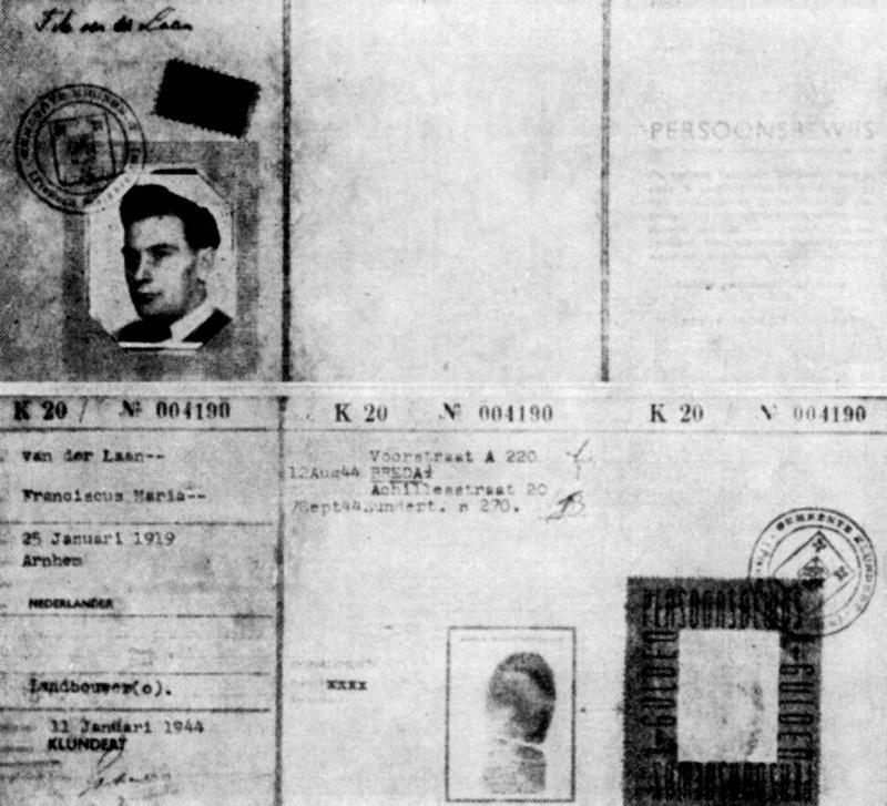 Falešná Smikova legitimace na jméno Franciscus Maria Van der Laan. Používal ji během svého ukrývání v okupovaném Nizozemsku