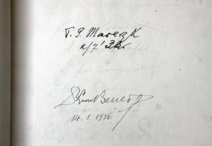 Podpisy prezidenta Masaryka a Beneše v Pamětní knize