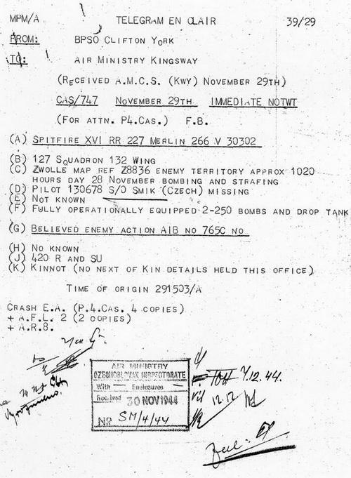 Telegram o pohřešování čs. velitele 127. peruti Otto Smika, který se 28. listopadu 1944 nevrátil z bojového letu u nizozemského Zwolle. Foto VHA.