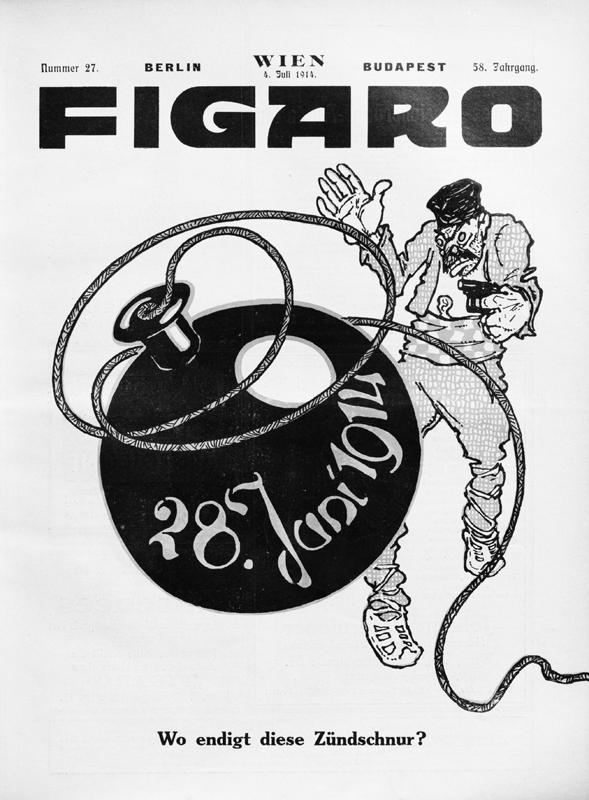 """""""Kde končí tato zápalnice?"""" ptal se na titulním listu kreslíř vídeňského satirického časopisu Figaro krátce po sarajevském atentátu. Foto sbírka VHÚ."""