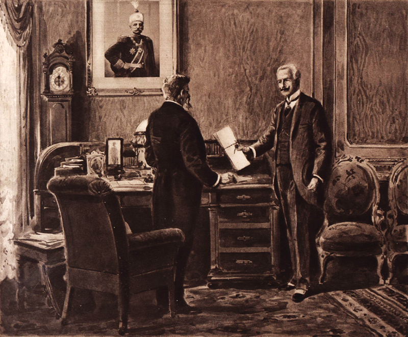 Reportážní kresba zachycuje okamžik demarše. Ultimátum z rukou rakousko-uherského vyslance svobodného pána Giesla von Gieslingen přebírá srbský ministr financí Lazar Paču (1855–1915). Foto sbírka VHÚ.