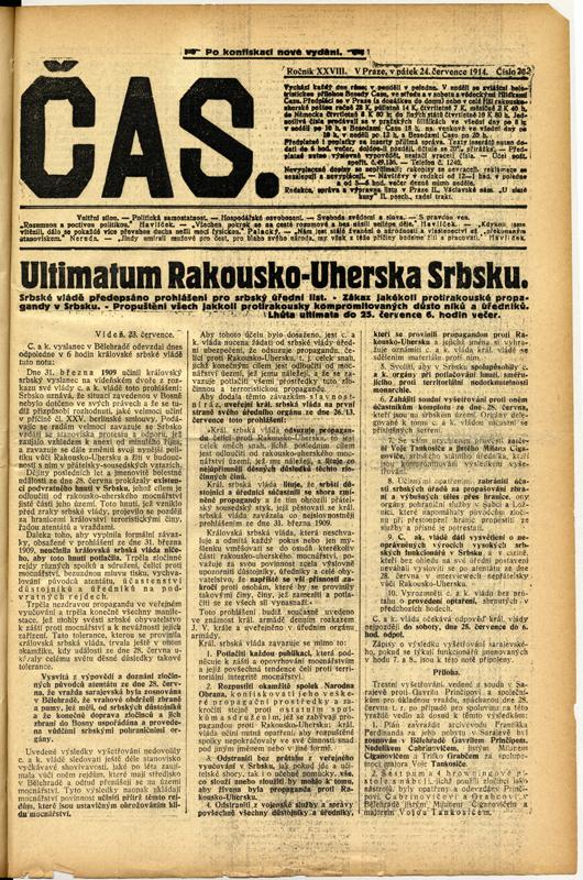 Následujícího dne, 24. července, zaplnily titulní listy novin zprávy o ultimátu, které Rakousko-Uhersko předložilo Srbsku. Foto sbírka VHÚ.