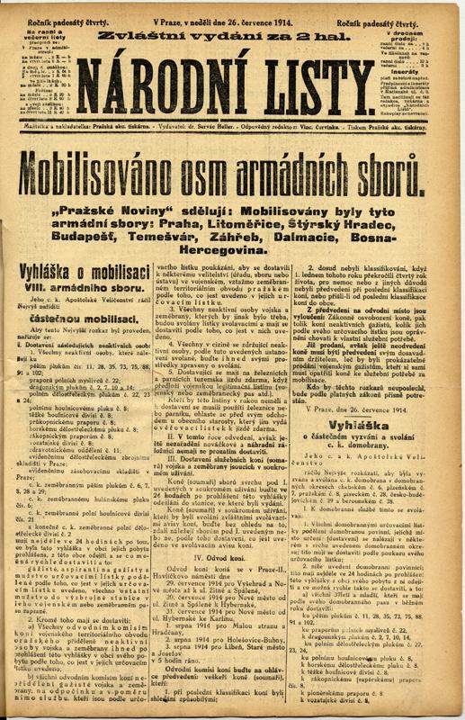 Zprávu o částečné mobilizaci přinesla také zvláštní vydání novin. Foto sbírka VHÚ.