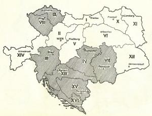 Schematická mapa rozdělení vojenských územních obvodů (sborů) v rámci habsburské monarchie. Sbory, na něž se vztahovala částečná mobilizace, označuje šrafování. V hranicích současné České republiky se týkala pouze pražského VIII. sboru a litoměřického IX. sboru. Foto sbírka VHÚ.