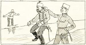 """""""Propuštěn ve zdraví"""" stojí v titulku karikatury, která reaguje na kuriózní situaci, v níž se ocitl srbský náčelník generálního štábu vojvoda Radomir Putnik ve dnech 25. až 26. července 1914. Ten se totiž o předání rakousko-uherského ultimáta Srbsku dověděl v době, kdy trávil svoji letní zdravotní dovolenou na území habsburské monarchie v lázeňském městečku Bad Gleichenbergu ve Štýrsku. Okamžitě se vydal na cestu domů, ale v Uhrách jej zadržela policie. K jeho propuštění došlo během následujícího dne prý na přání svobodného pána Conrada von Hötzendorf, díky němuž mohl zvláštním vlakem odcestovat do Bělehradu. Vzhledem k dalšímu vývoji událostí si Conrad za toto rytířské gesto vysloužil kritiku.  Z popisky kresby čiší i despekt vůči válečným schopnostem nemocného vojvody: """"Jen si ho vezmi, bude požehnáním pro nás oba!"""" Foto sbírka VHÚ."""