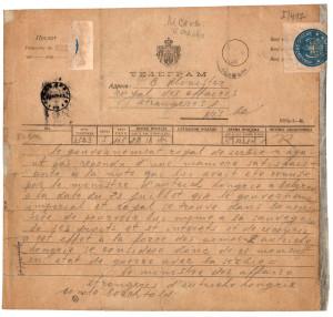 Originální telegram, jímž habsburská monarchie vyhlásila 28. července 1914 v 11.10 hodin Srbsku válku. Foto sbírka VHÚ.