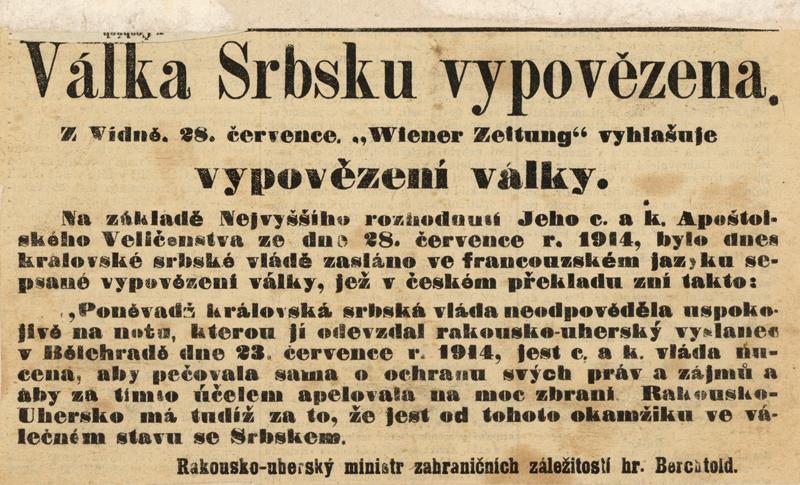 Vyhlášení války Srbsku potvrdila zpráva v úředním listu Wiener Zeitung, kterou vzápětí otiskly noviny v celé habsburské monarchii. Foto sbírka VHÚ.