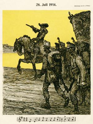 Válečná propaganda si hledala témata ve slavné vojenské minulosti habsburské monarchie. Na kresbě vede vojáky do boje princ Evžen Savojský (1663–1736), slavný dobyvatel Bělehradu z roku 1717. Notový zápis pod obrázkem patří staré vojenské písni dobře známé mezi rakousko-uherskými vojáky: Princ Evžen, náš vůdce slavný, / císaři zas starodávný / dobýt hodlal Bělehrad. Foto sbírka VHÚ.