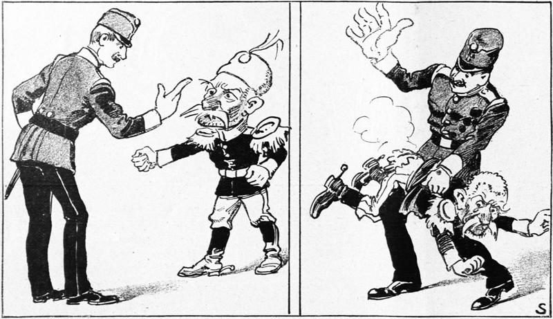 """""""Nestoudný Petřík"""" patří k primitivním karikaturám, jež vznikaly v německojazyčném prostředí bezprostředně po vypovězení války. Podceňovaného nepřítele zobrazuje jako nezbedného chlapce, který tak dlouho provokuje a pokouší trpělivost, až dostane výprask: """"Pokud mu v roce 1909 nestačil zdvižený prst, zasáhne v roce 1914 už celá ruka."""" Foto sbírka VHÚ."""