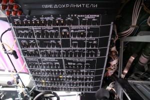 Panel úsekových spínačů systémů letounu.