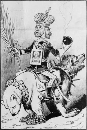 """""""Dvojaká úloha ruského cara"""" na dobové karikatuře vídeňského humoristického časopisu zračí nejistotu, která v habsburské monarchii panovala nad zapojením Ruska do mezinárodní krize v červenci 1914. Foto sbírka VHÚ."""