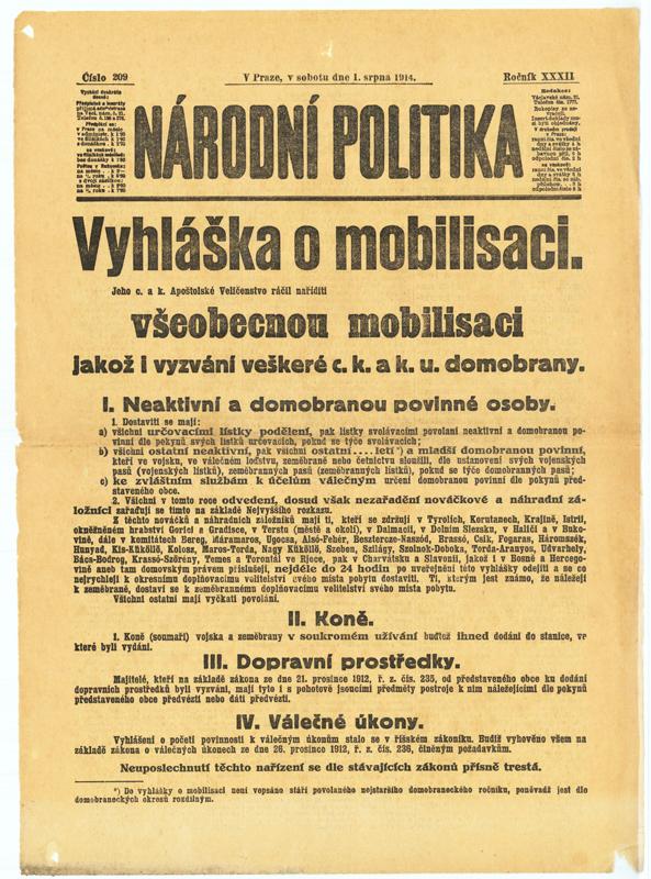 Zcela zjevný scénář války na dvou frontách přiměl 31. července 1914 císaře Františka Josefa I. k vyhlášení všeobecné mobilizace rakousko-uherského vojska. Foto sbírka VHÚ.