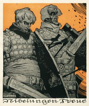 """""""Věrnost Nibelungů"""" – osudové spojenectví Rakouska-Uherska s Německem v symbolice germánské mytologie. Foto sbírka VHÚ."""