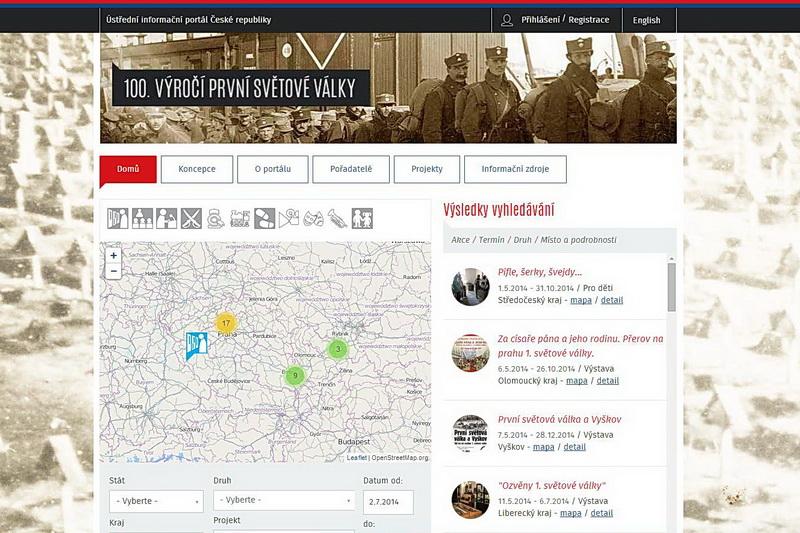 Nový portál 100.army.cz shromažďuje informace o veškerém dění spjatém s výročími první světové války